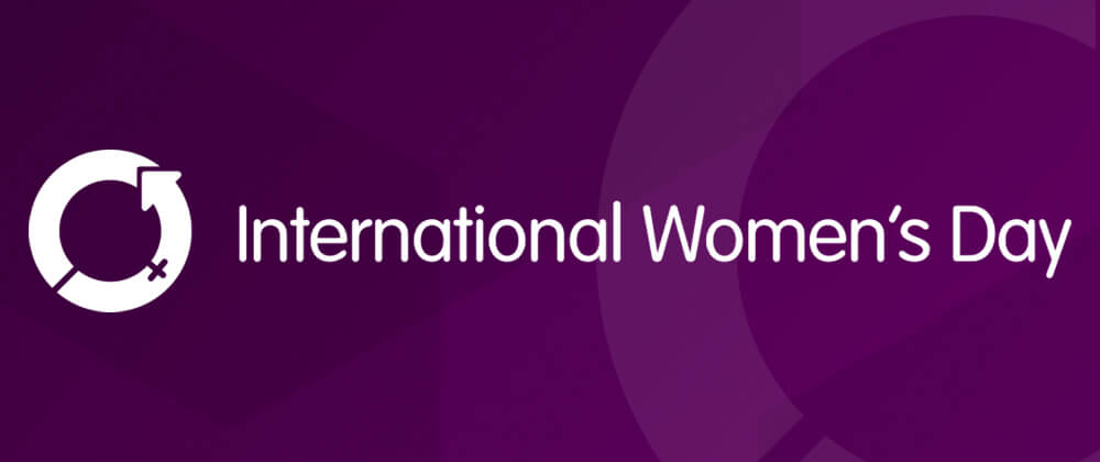 International Womens Day logo on purple background