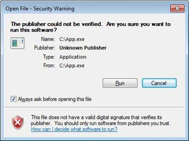 screenshot of security warning