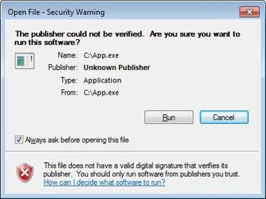 screenshot of security warning