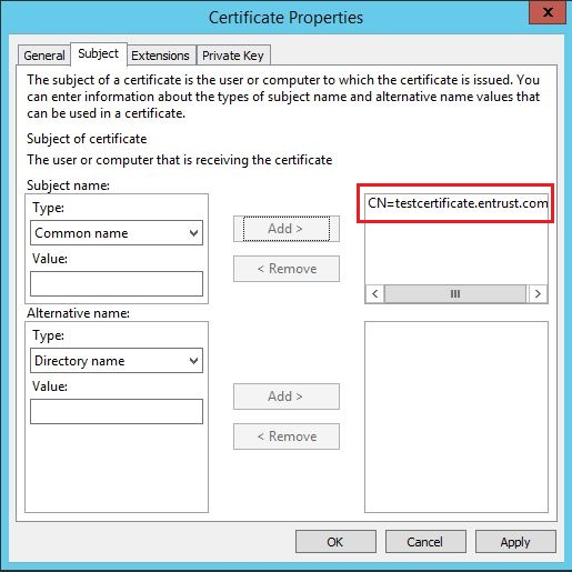 How to generate certificate signing request using microsoft the cn field will show on the information box on the right hand side of add button yadclub Choice Image