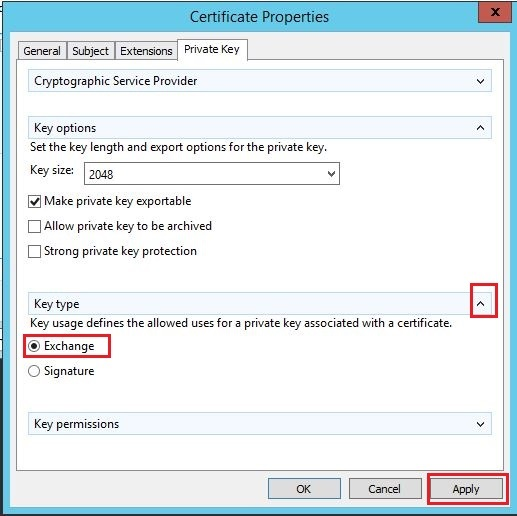 How to generate certificate signing request using microsoft expand key type section by click on down arrow button on the side select exchange option on key type section click apply ok button and then next button yelopaper Images