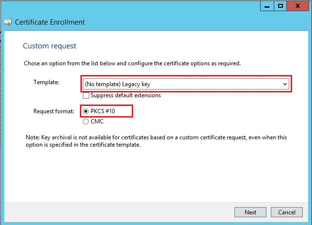 How to generate certificate signing request using microsoft on template option select no template legacy key and pkcs 10 on request format option click next yadclub Images