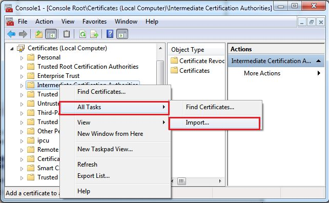 How Is The Chain Certificate Installed On Windows Server 2012