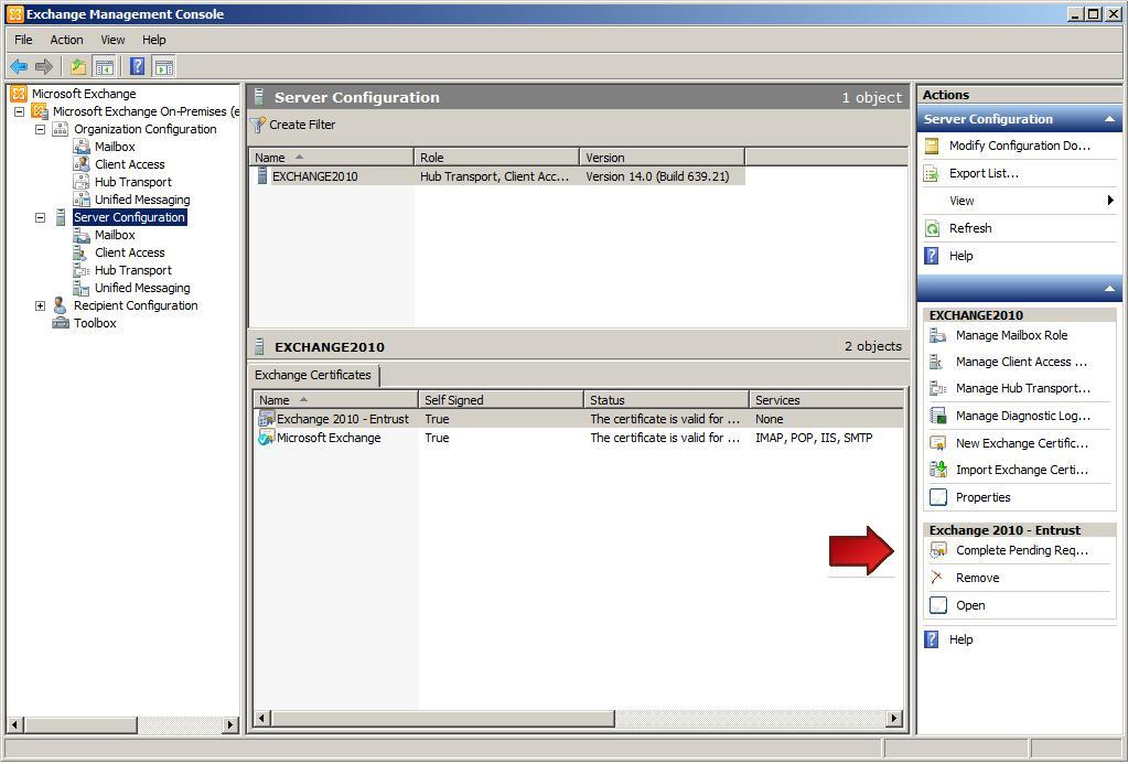Ssltls Certificate Installation Instructions Microsoft Exchange 2010