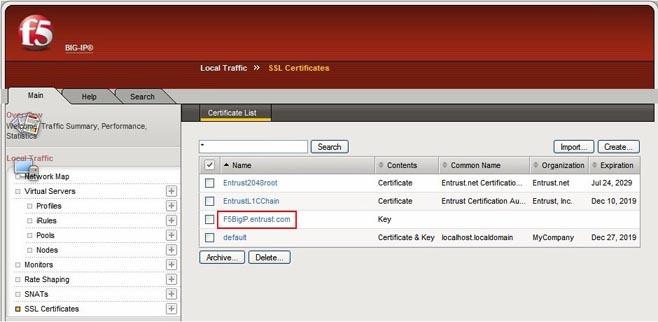 SSL/TLS Certificate Installation Instructions - F5 BIG IP