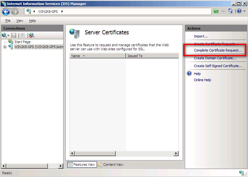 how to create certificate request in iis 7