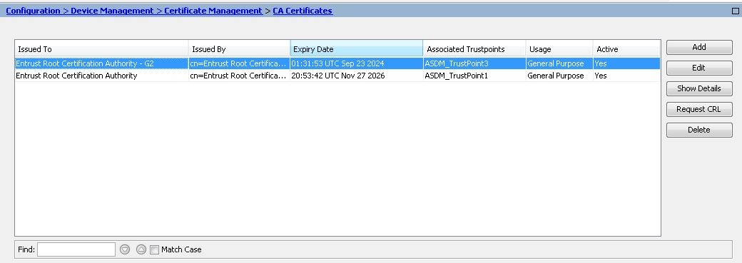 How Is The L1k Chain Certificate Installed On A Cisco Asa Appliance