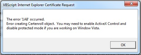 Error '1A8' when creating a personal S/MIME certificate using
